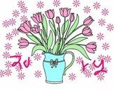 Dibujo Jarrón de tulipanes pintado por Zurami