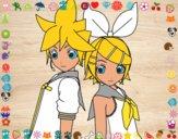 Dibujo Len y Rin Kagamine Vocaloid pintado por angieyujan