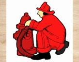 Dibujo Bombero en la boca de incendios pintado por melina287