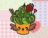 Dibujo Cupcake kawaii con fresa pintado por mariac127