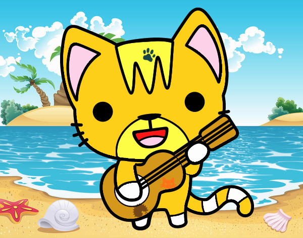 Dibujo Gato guitarrista pintado por LauraArti