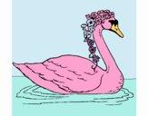 Cisne con flores