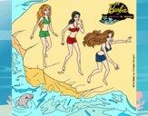 Dibujo Barbie y sus amigas en la playa pintado por Ramon45
