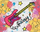 Dibujo Guitarra y estrellas pintado por beto1emily