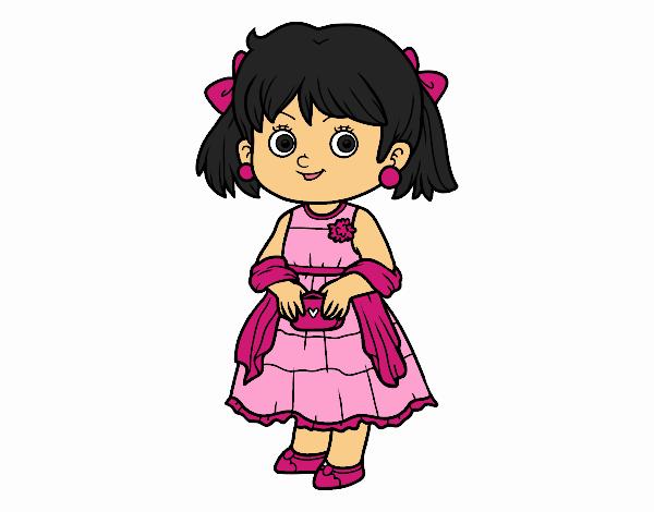 Dibujo Niña con vestido elegante pintado por Juice