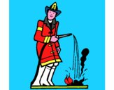 Bombero sofocando fuego