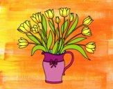 Dibujo Jarrón de tulipanes pintado por BERNORI