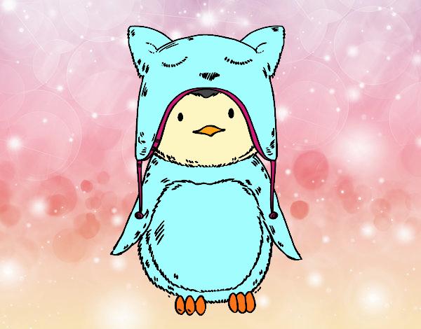 Dibujo Pingüino con gorrito divertido pintado por Osiita