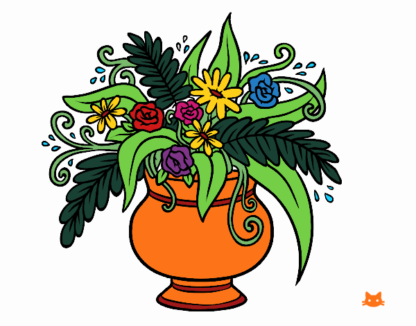 Dibujo Un jarrón con flores pintado por Juice