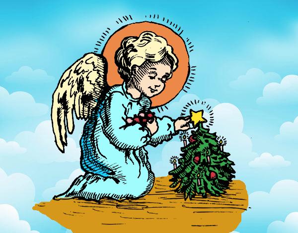 Dibujo Angelito navideño pintado por mirperla