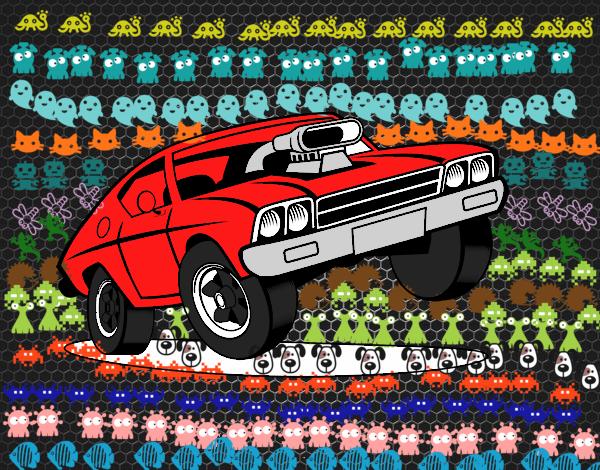 Dibujo Coche muscle car pintado por keonii