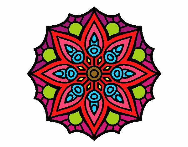 Dibujo Mandala simetría sencilla pintado por keonii