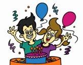 Dibujo Cumpleaños de hermanos pintado por anahis573