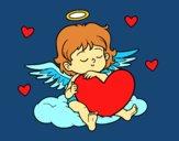 Dibujo Cupido con corazón pintado por anahis573