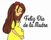 Dibujo Mamá embarazada en el día de la madre pintado por JuliBanana
