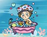 Dibujo Niña tomando un baño pintado por Ramon45
