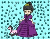 Dibujo Princesa con perrito pintado por bianca1300
