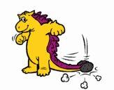 Dinosaurio moviendo la cola