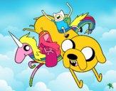 Dibujo Finn y Jake con la Princesa Chicle pintado por IvanDan