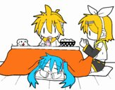 Miku, Rin y Len desayunando
