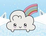 Nube con arco iris kawaii