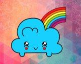 Dibujo Nube con arco iris kawaii pintado por Disis