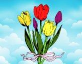 Dibujo Tulipanes con lazo pintado por martavv