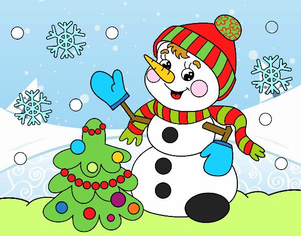 Dibujo Postal de Navidad muñeco de nieve pintado por MariaMc