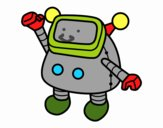 Dibujo Robot saludando pintado por elwaht