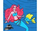 Barbie sirena con su amiga pez