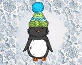 Dibujo Pingüino con gorro de invierno pintado por Picasa