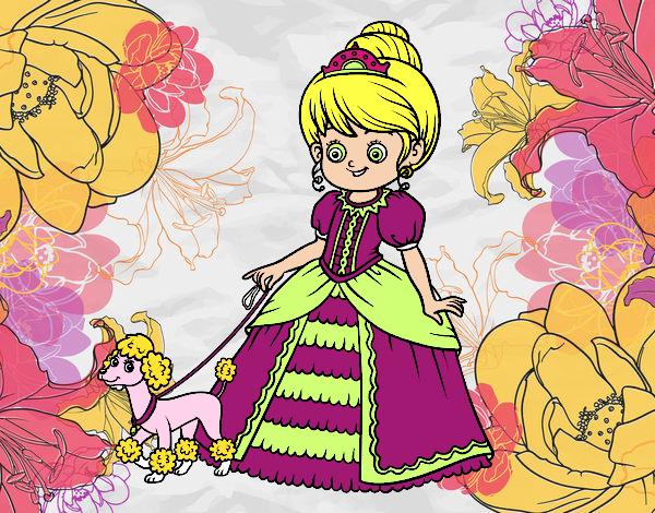 Dibujo Princesa con perrito pintado por vale26