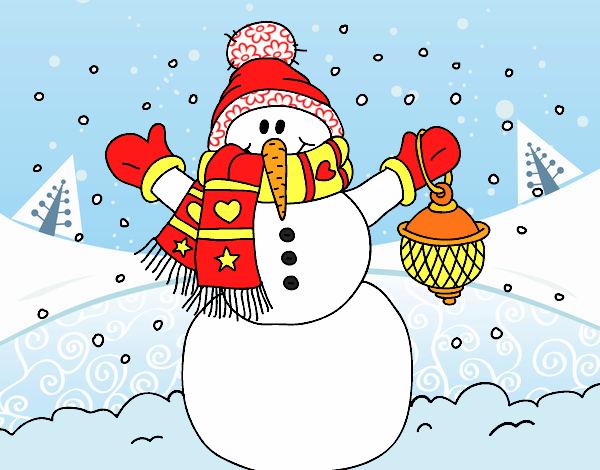 Dibujo Un muñeco de nieve navideño pintado por MariaMc