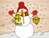 Dibujo Un muñeco de nieve navideño pintado por navid