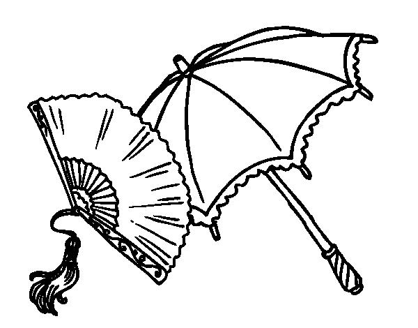 Dibujo de Abanico y paraguas para Colorear - Dibujos.net