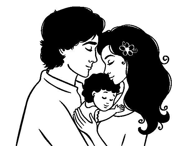 Dibujos De Familia Para Colorear E Imprimir: Dibujo De Abrazo Familiar Para Colorear