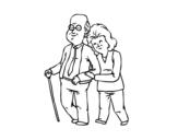 Dibujo de Abuelos felices para colorear