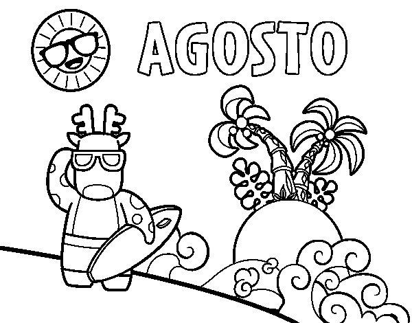 Dibujo de Agosto para Colorear