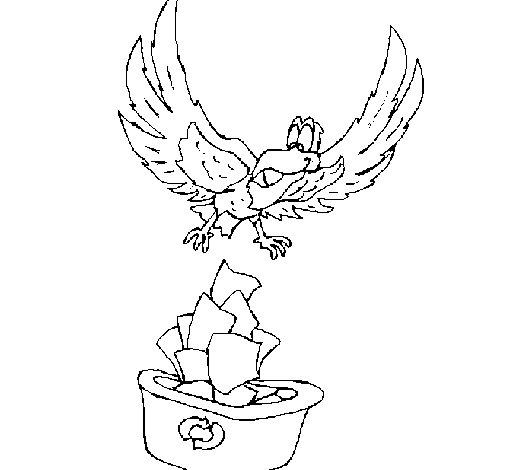 Dibujo de Águila reciclando para Colorear