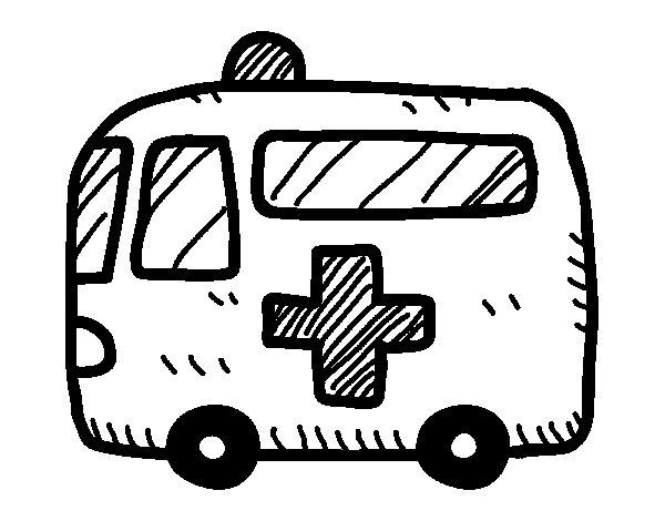 Dibujo de Ambulancia cruz roja para Colorear