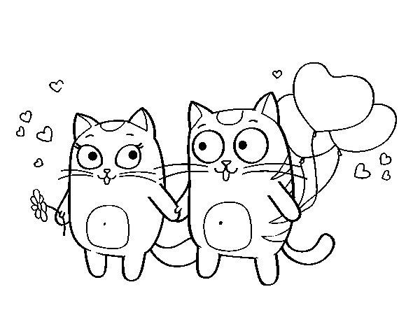 Dibujo de Amor gatuno para Colorear - Dibujos.net