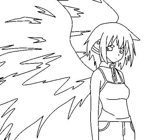 Dibujo de Ángel con grandes alas 1 para Colorear