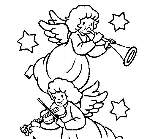 Dibujo de Ángeles musicales para Colorear