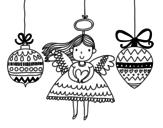 Dibujo de Ángeles y bolas de Navidad
