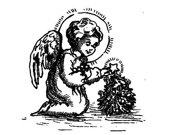 Dibujo de Angelito navideño para Colorear