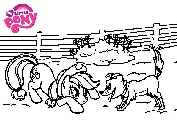 Dibujo de Applejack y Winona para Colorear