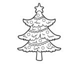 Dibujo de Árbol de navidad decorado para colorear