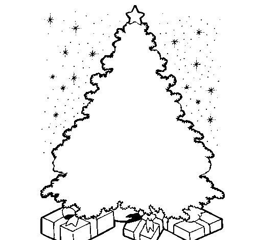 Dibujo de rbol iluminado para colorear for Arbol navideno para colorear