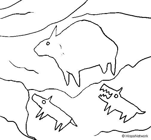 Dibujo de Arte rupestre para Colorear