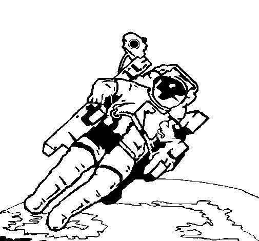 Dibujo de Astronauta en el espacio para Colorear
